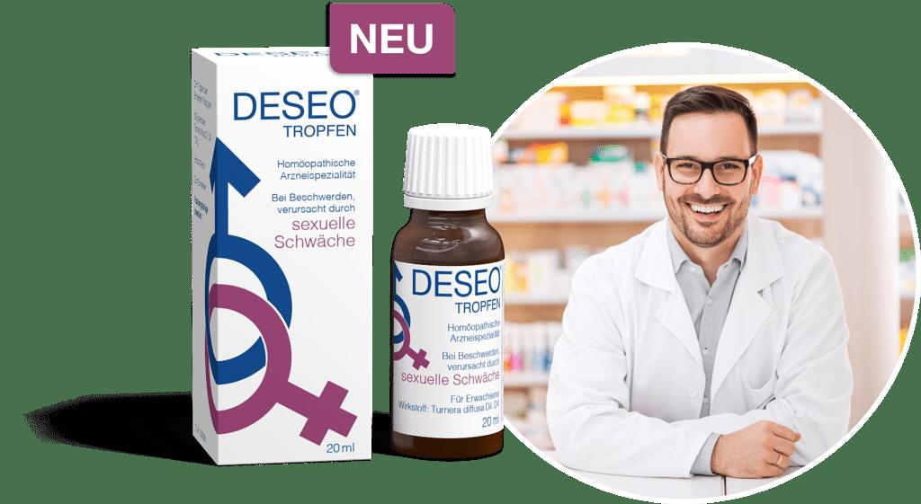 DESEO® Tropfen • Rezeptfrei in jeder Apotheke erhältlich oder online zu bestellen.